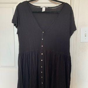 Babydoll black button down dress